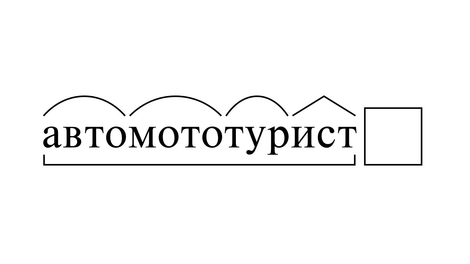 Разбор слова «автомототурист» по составу