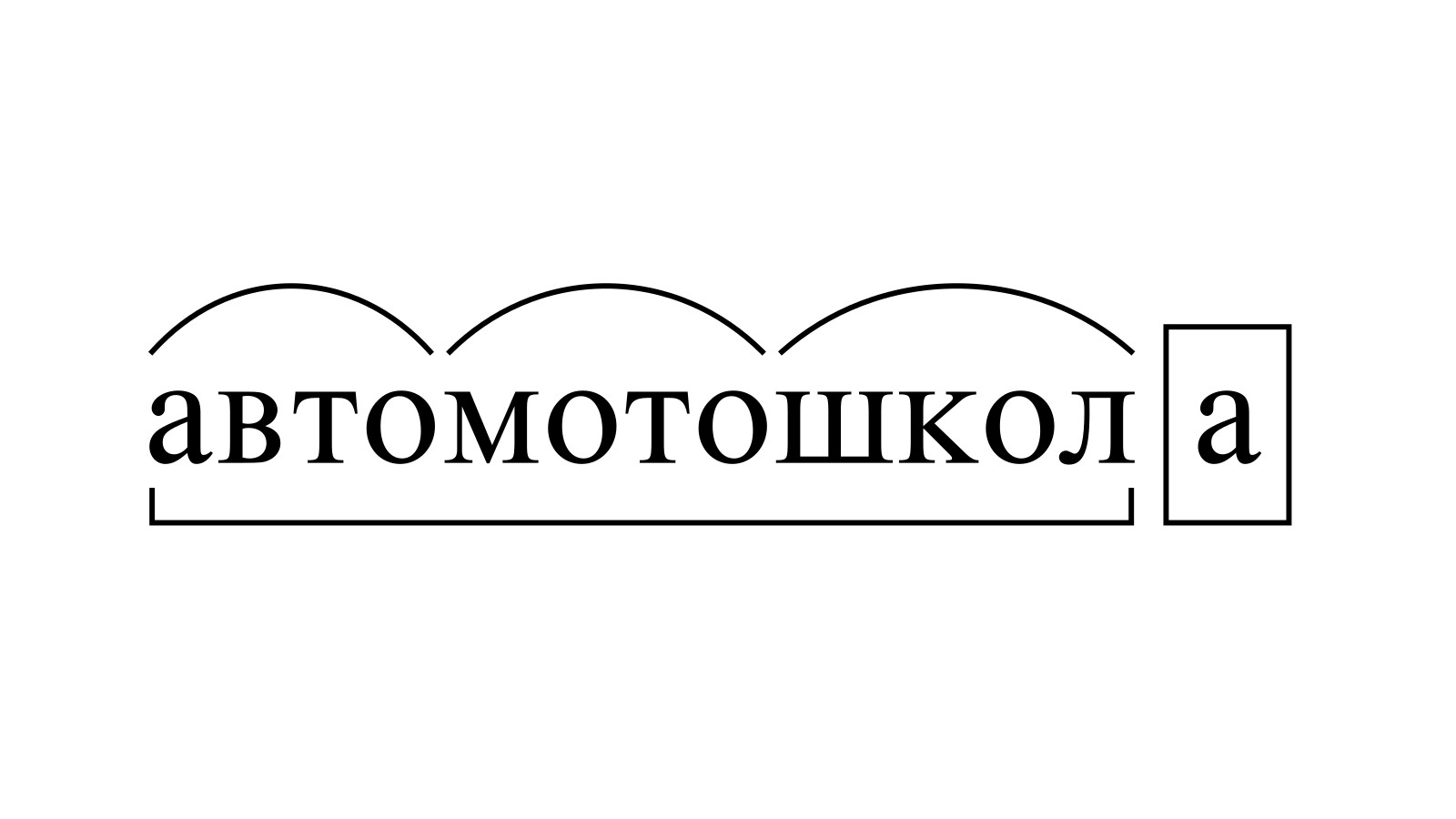 Разбор слова «автомотошкола» по составу