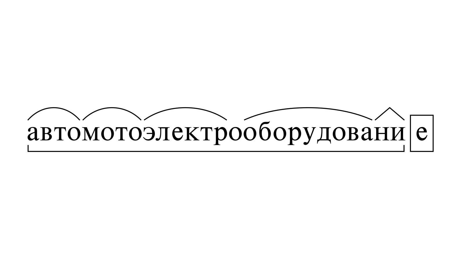 Разбор слова «автомотоэлектрооборудование» по составу