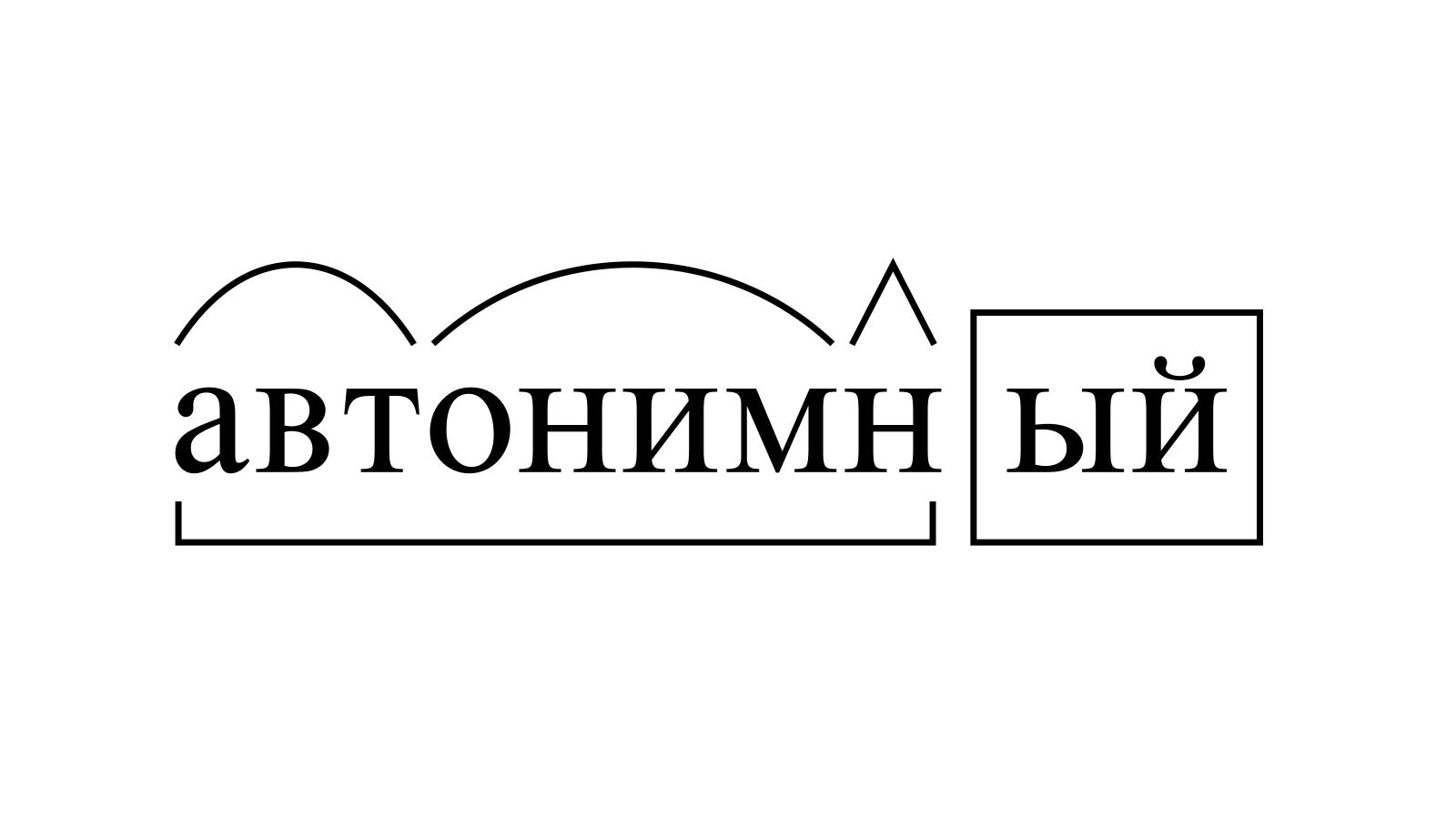Разбор слова «автонимный» по составу