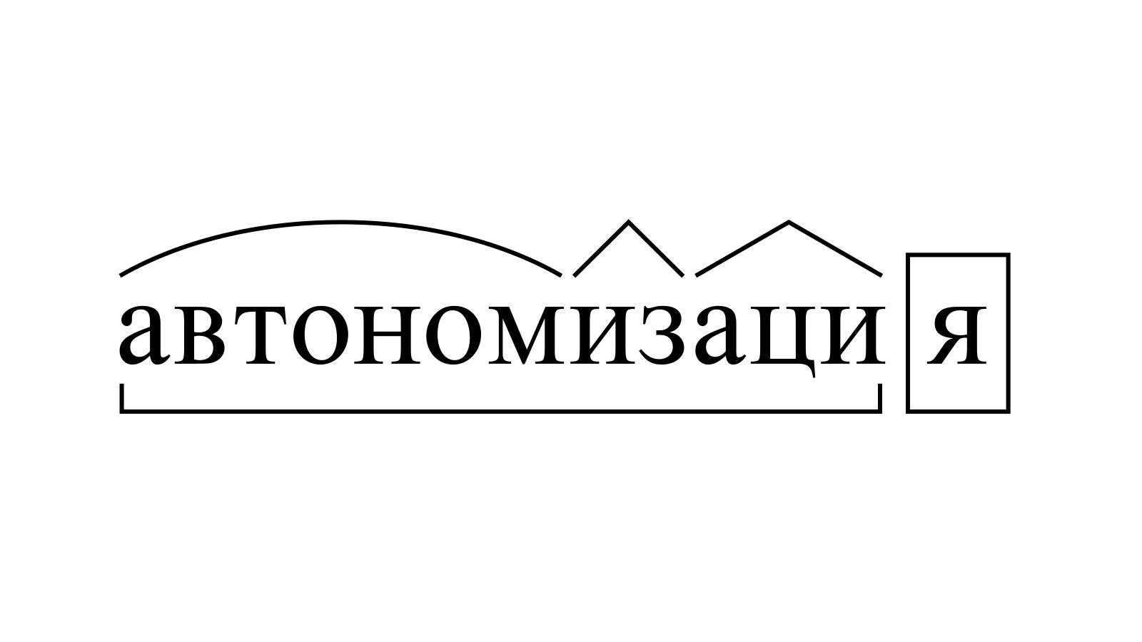 Разбор слова «автономизация» по составу