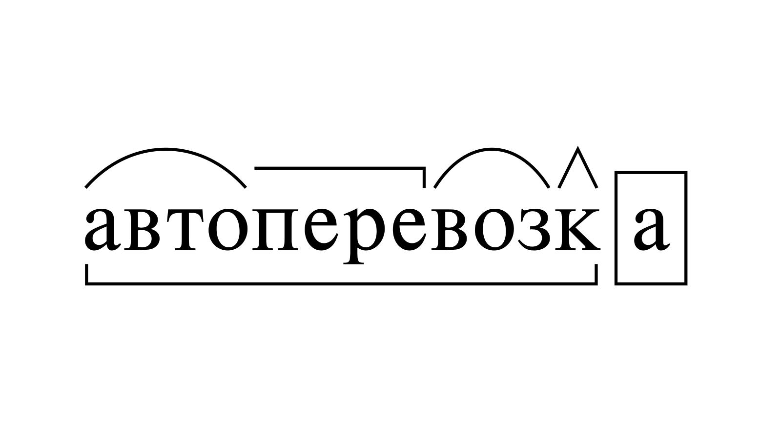 Разбор слова «автоперевозка» по составу