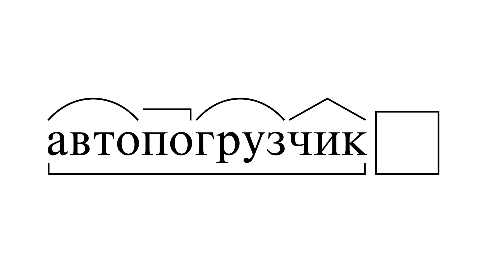 Разбор слова «автопогрузчик» по составу