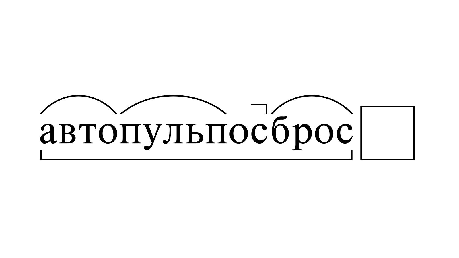 Разбор слова «автопульпосброс» по составу