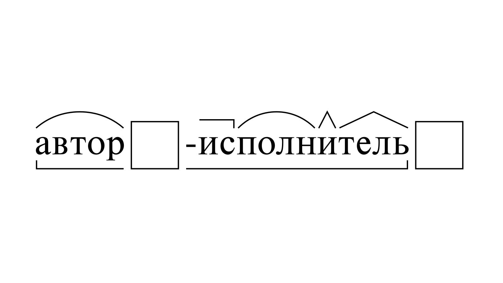 Разбор слова «автор-исполнитель» по составу