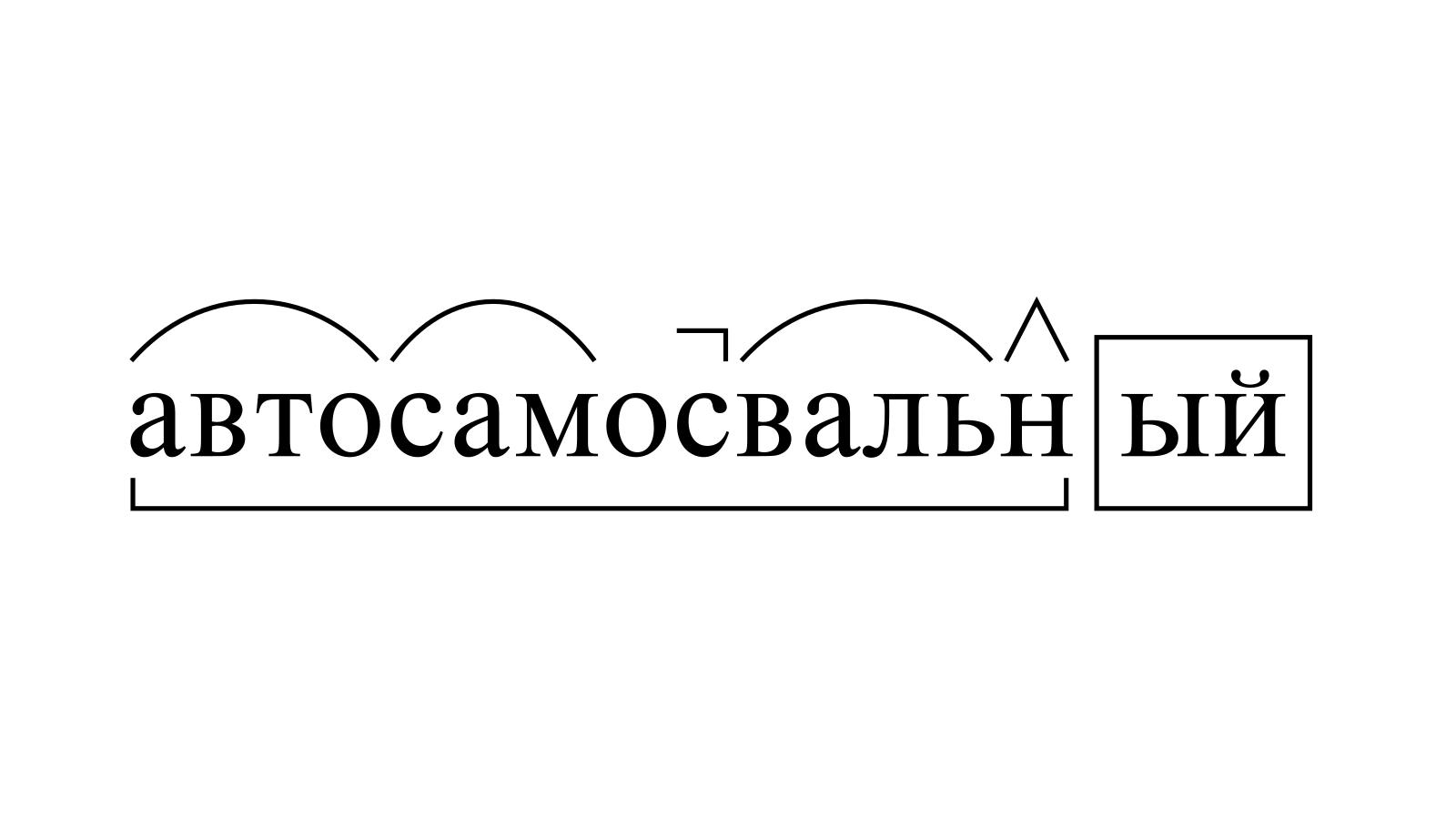Разбор слова «автосамосвальный» по составу