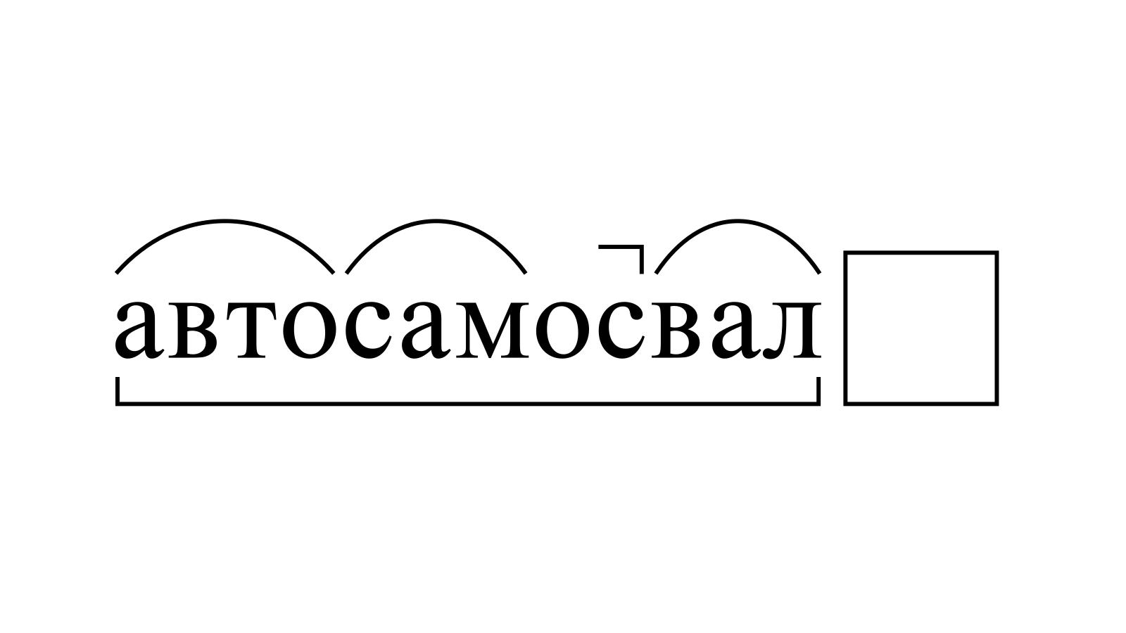 Разбор слова «автосамосвал» по составу