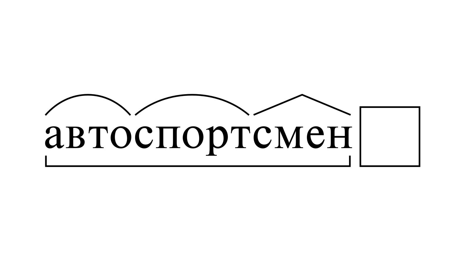 Разбор слова «автоспортсмен» по составу