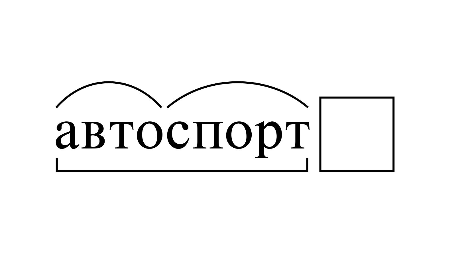 Разбор слова «автоспорт» по составу
