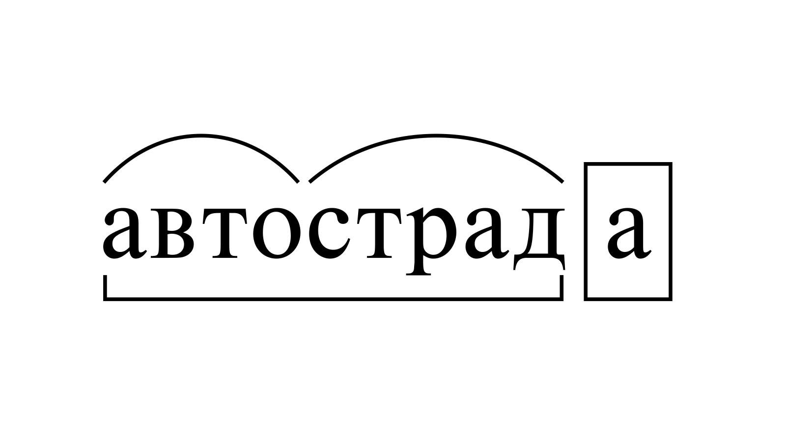 Разбор слова «автострада» по составу