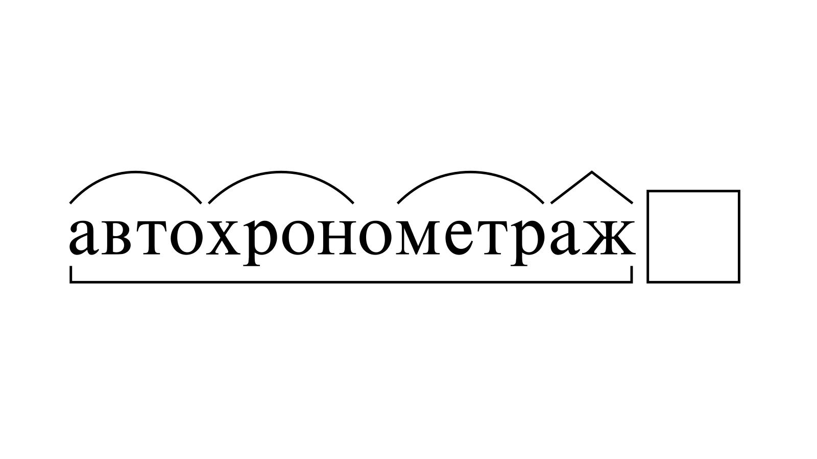 Разбор слова «автохронометраж» по составу
