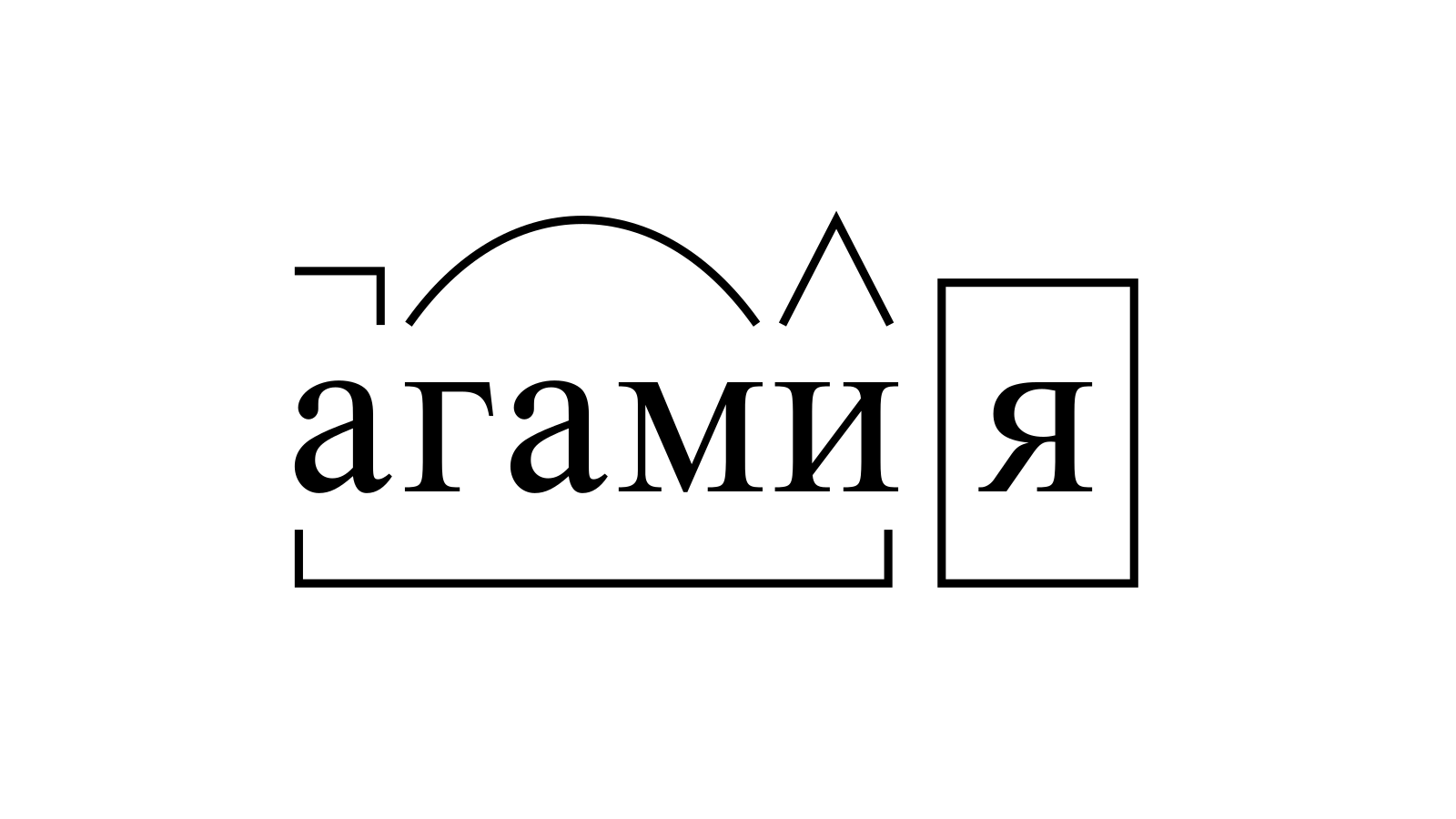 Разбор слова «агамия» по составу