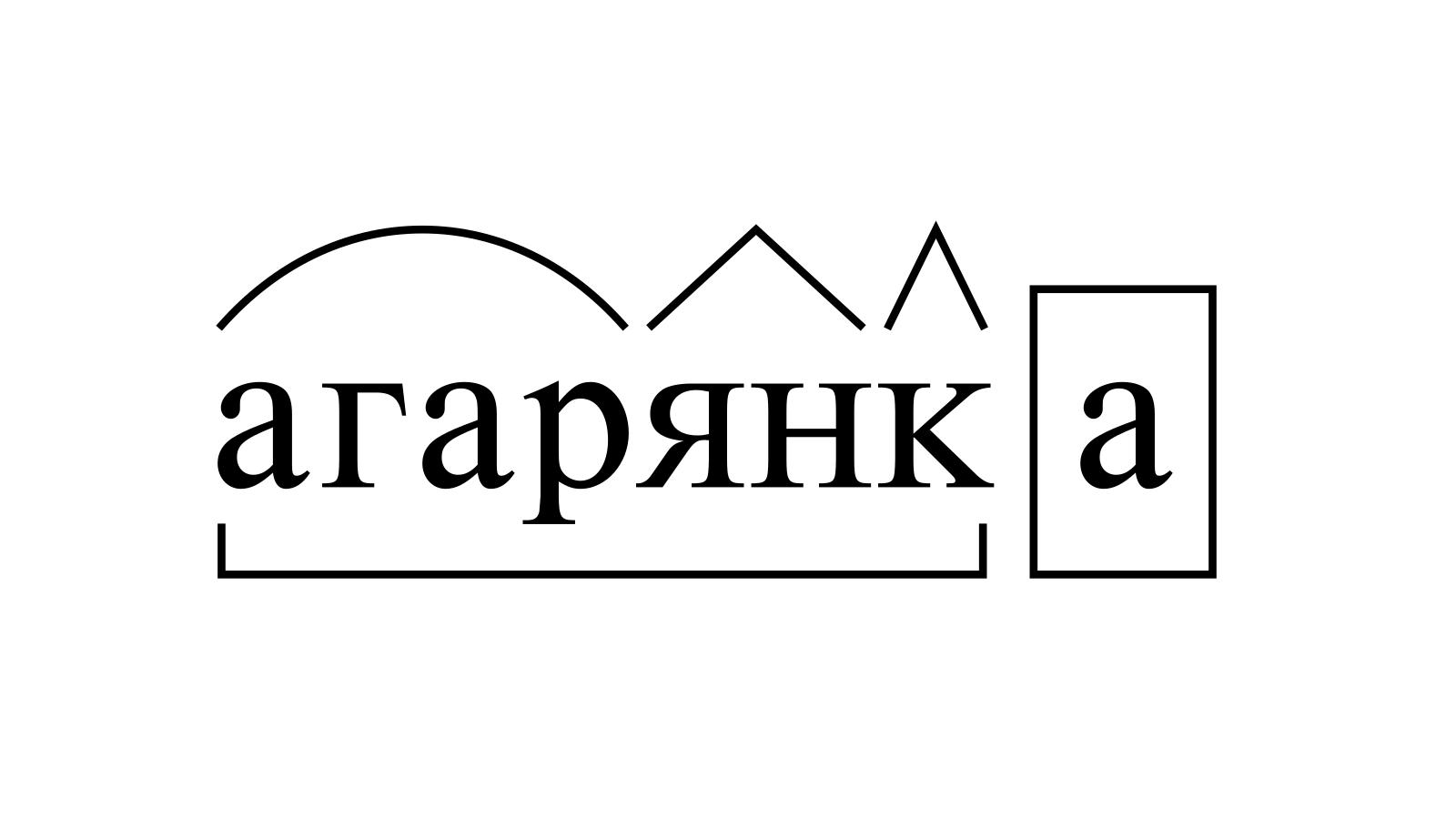Разбор слова «агарянка» по составу
