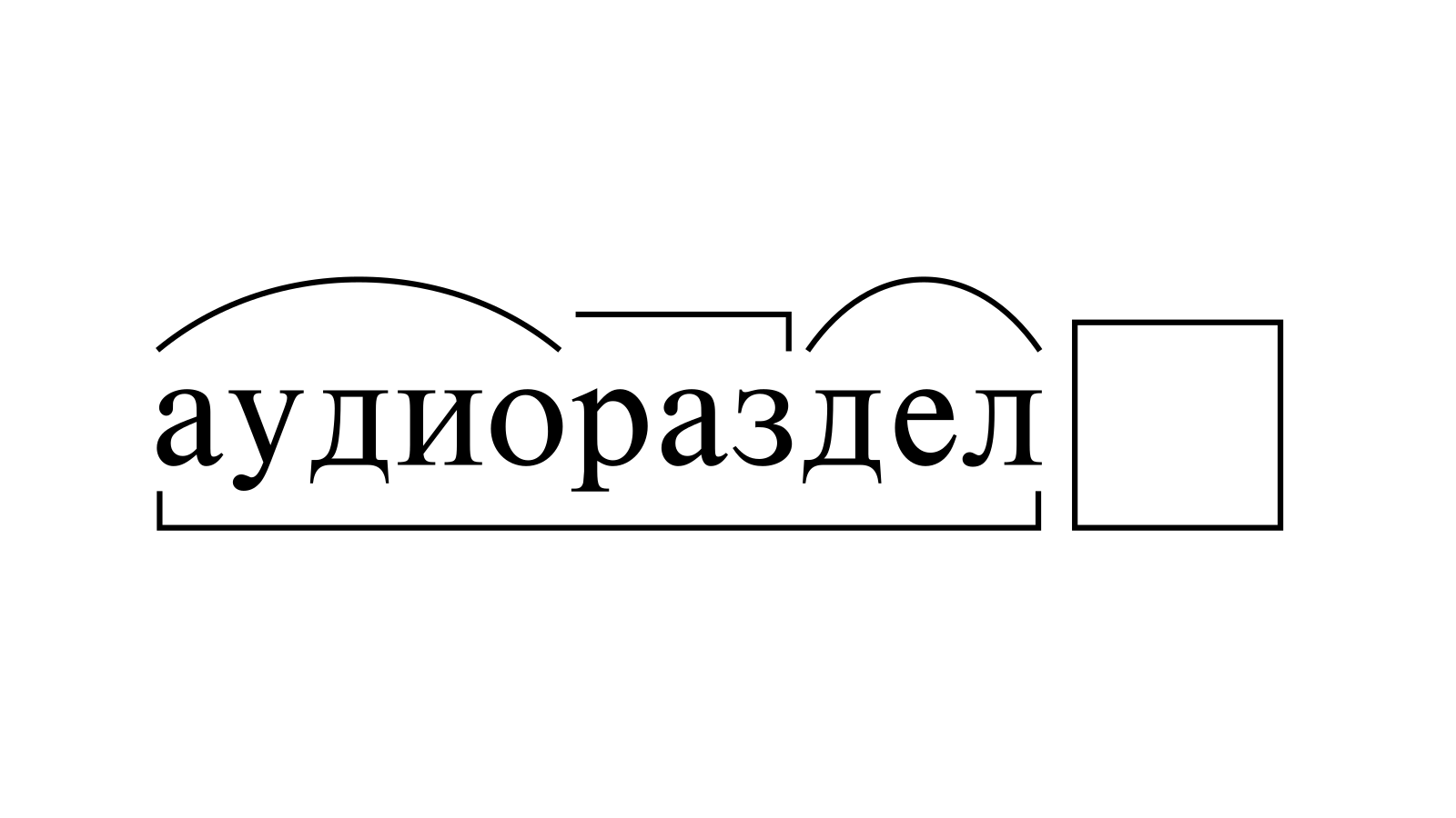 Разбор слова «аудиораздел» по составу