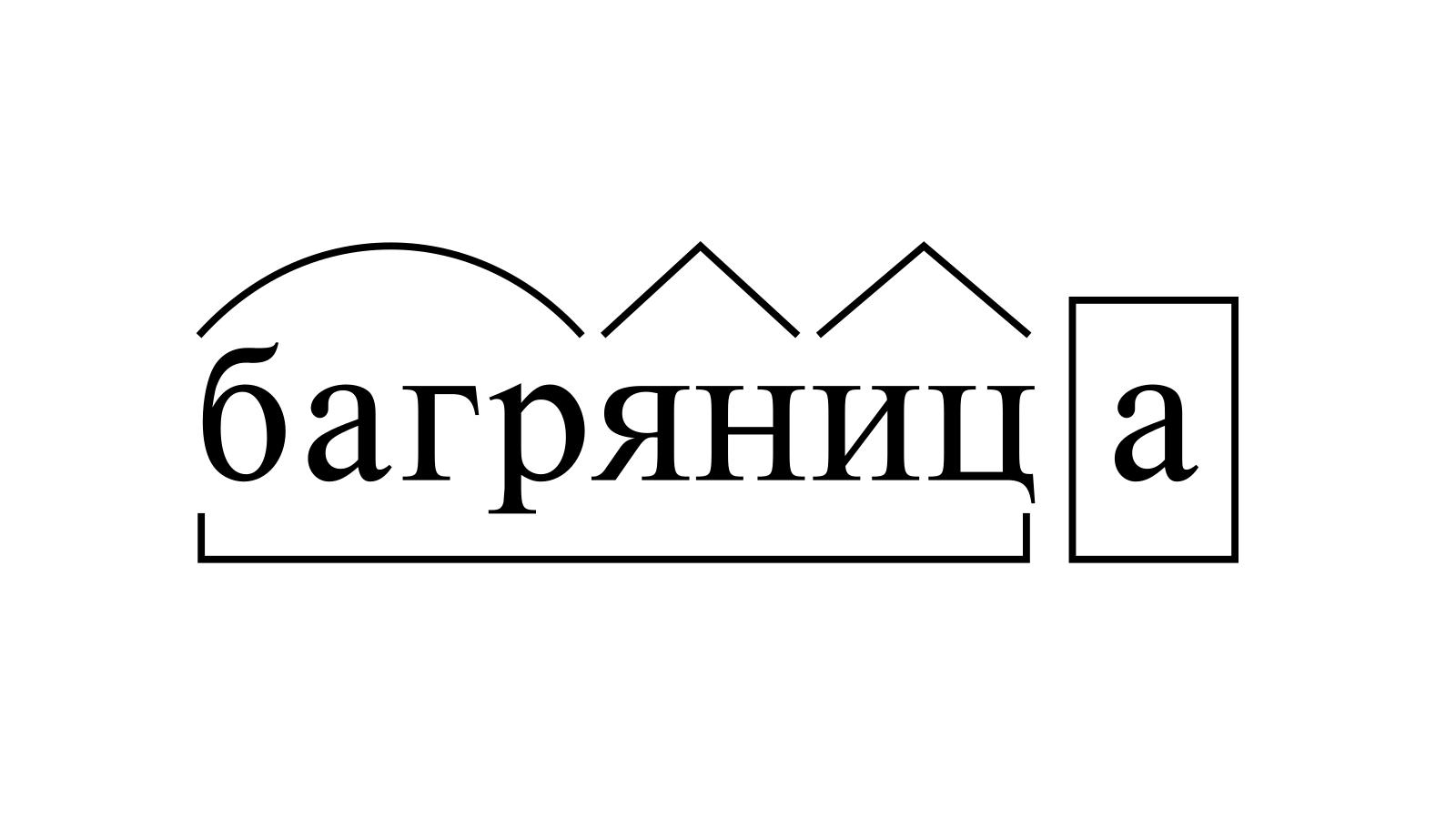 Разбор слова «багряница» по составу