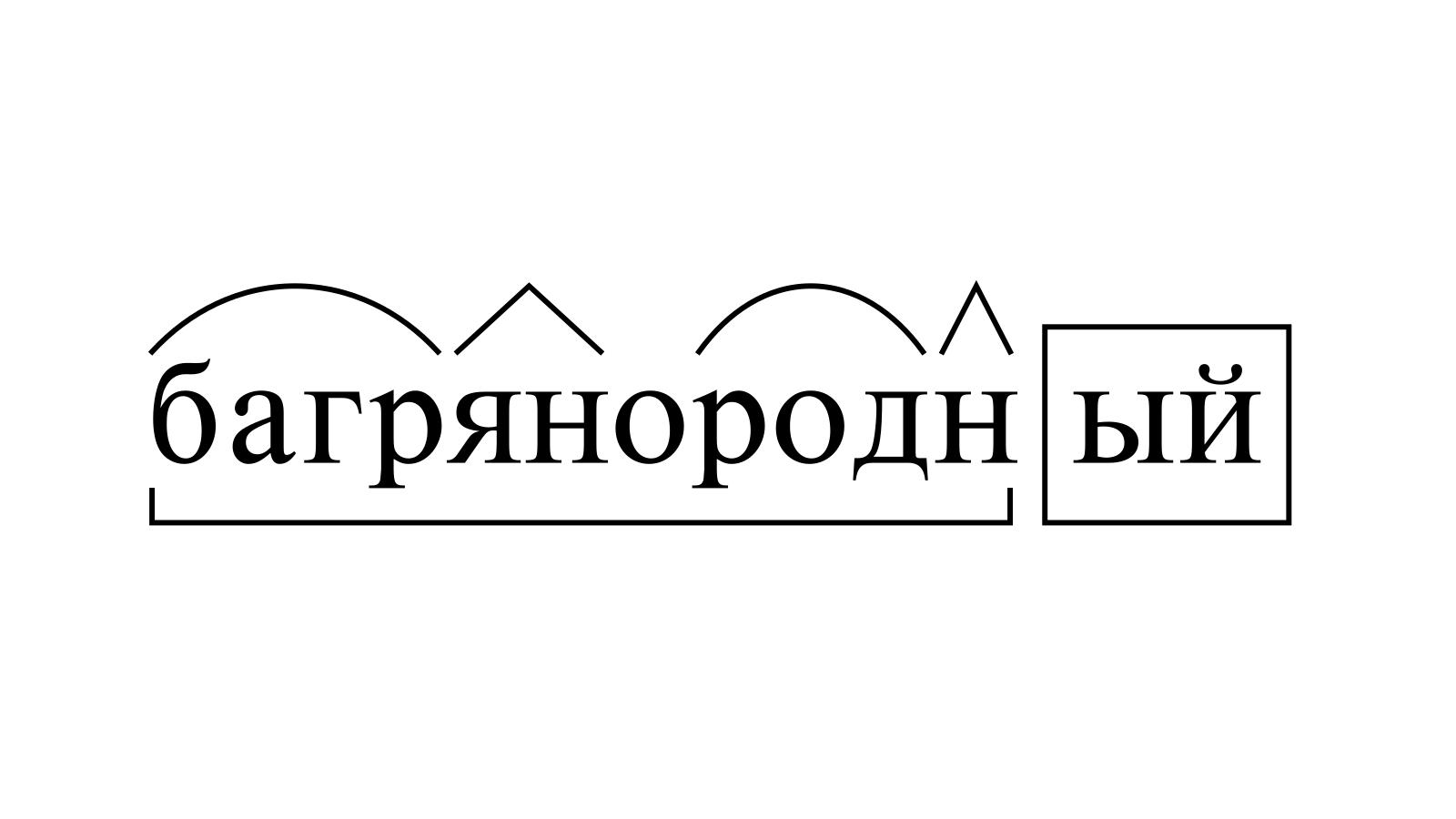 Разбор слова «багрянородный» по составу