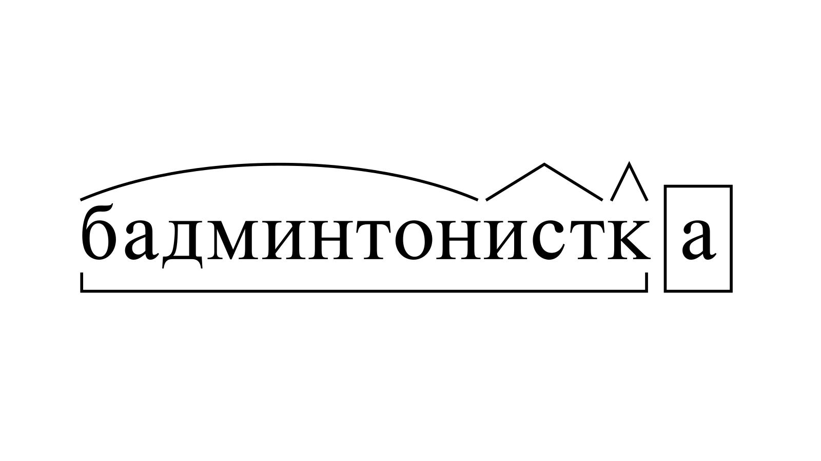 Разбор слова «бадминтонистка» по составу