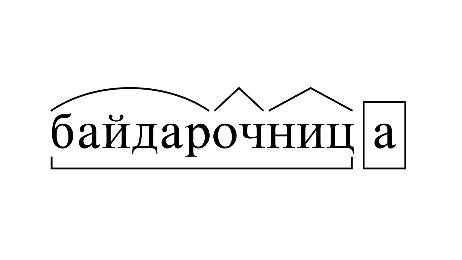 Разбор слова «байдарочница» по составу