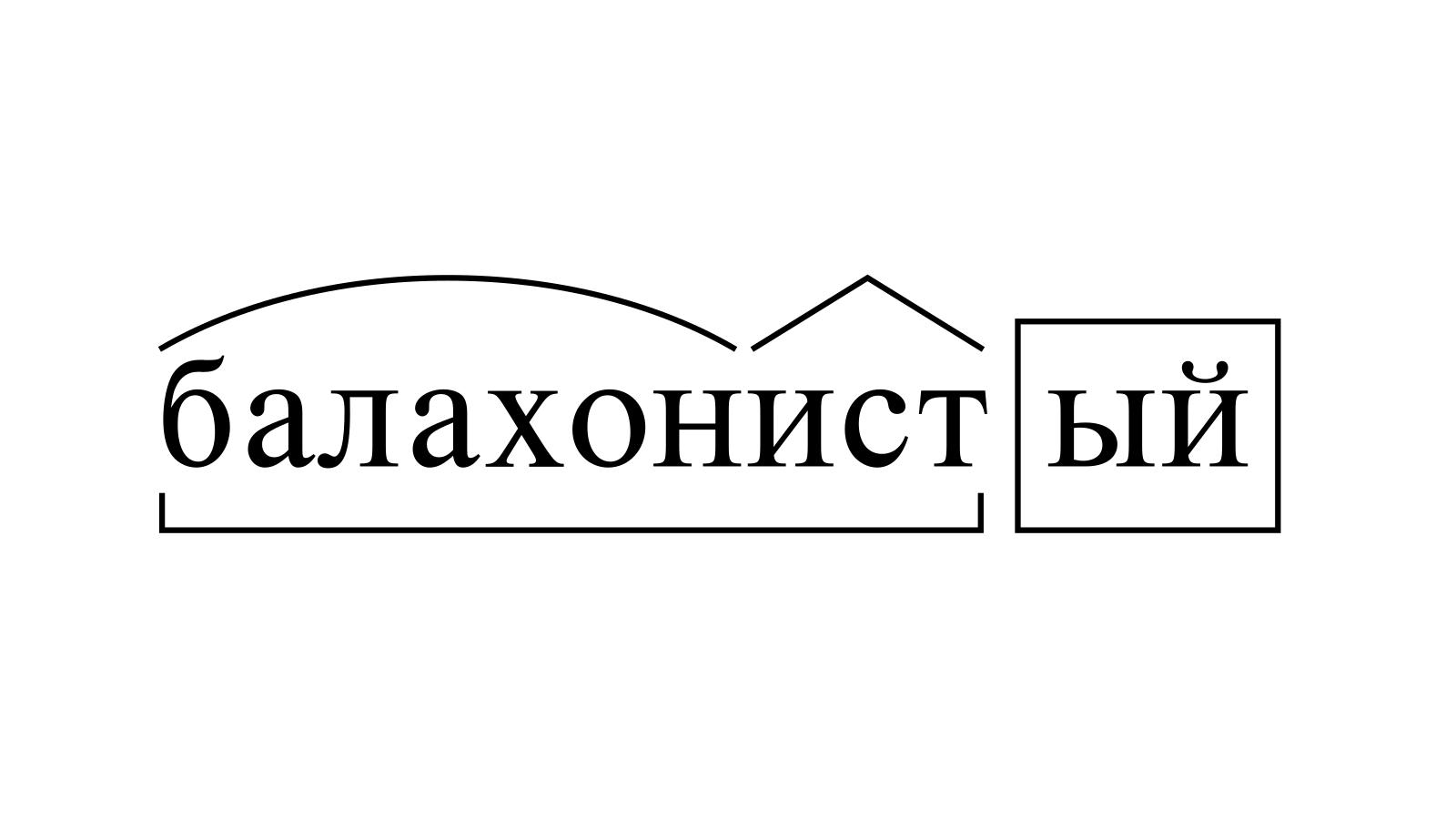 Разбор слова «балахонистый» по составу