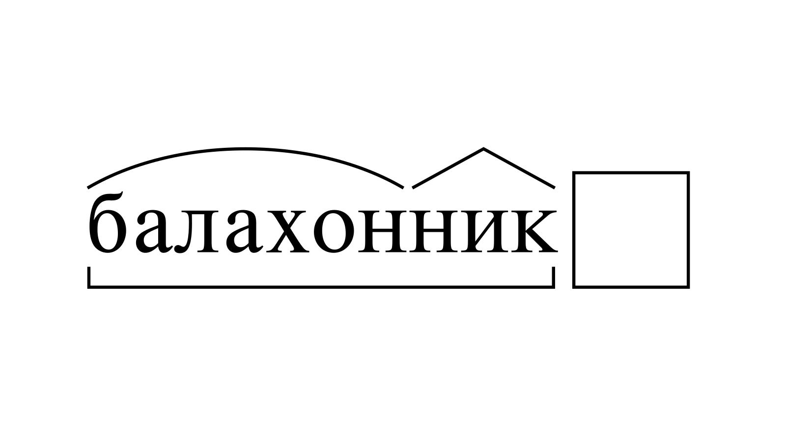 Разбор слова «балахонник» по составу