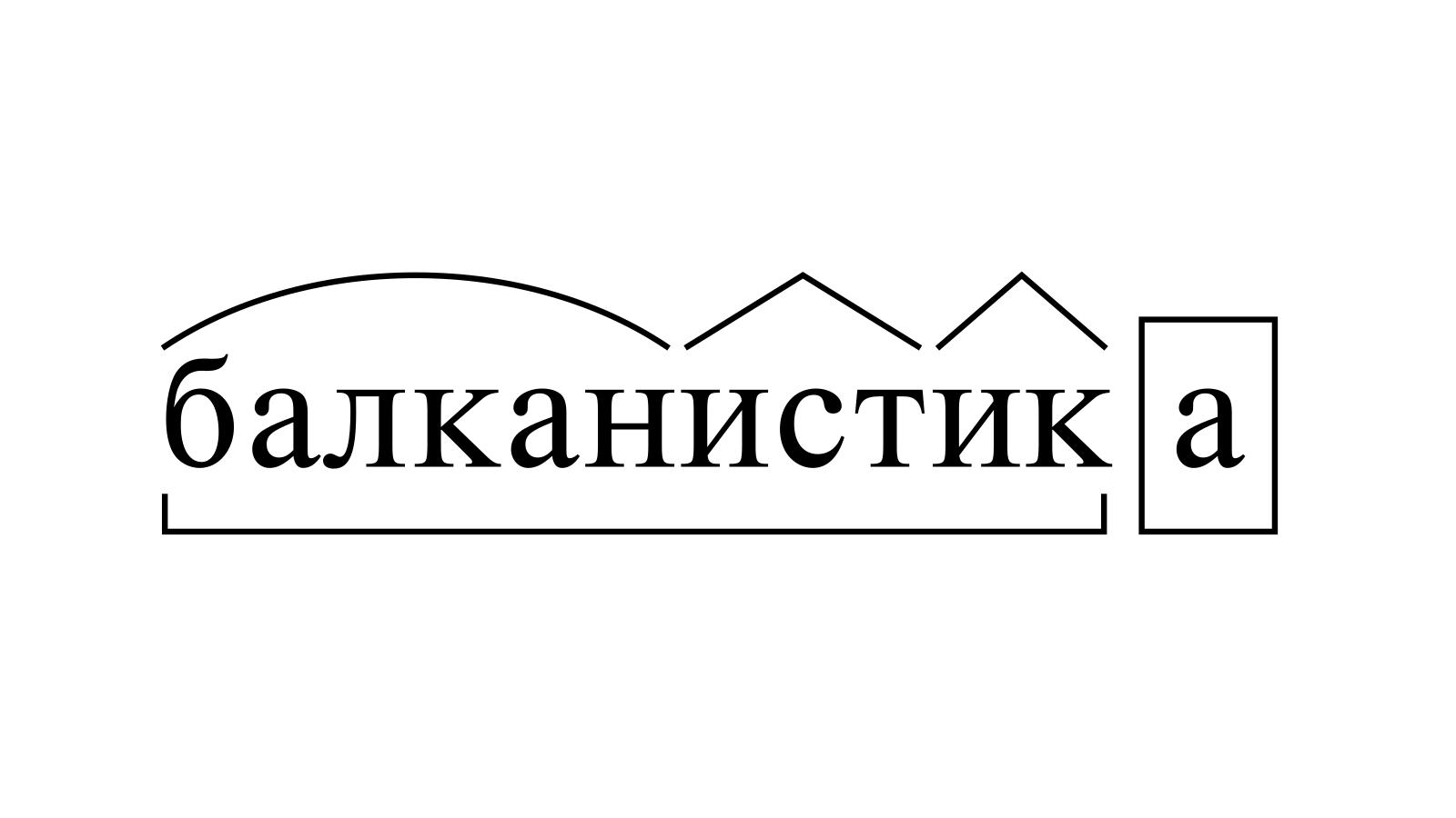 Разбор слова «балканистика» по составу