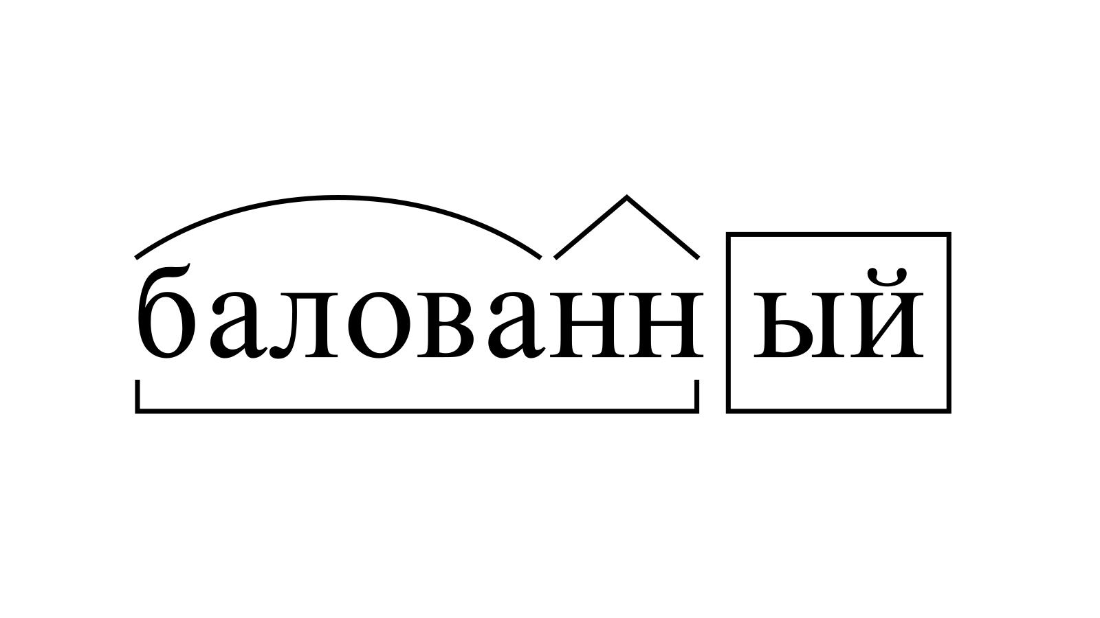 Разбор слова «балованный» по составу