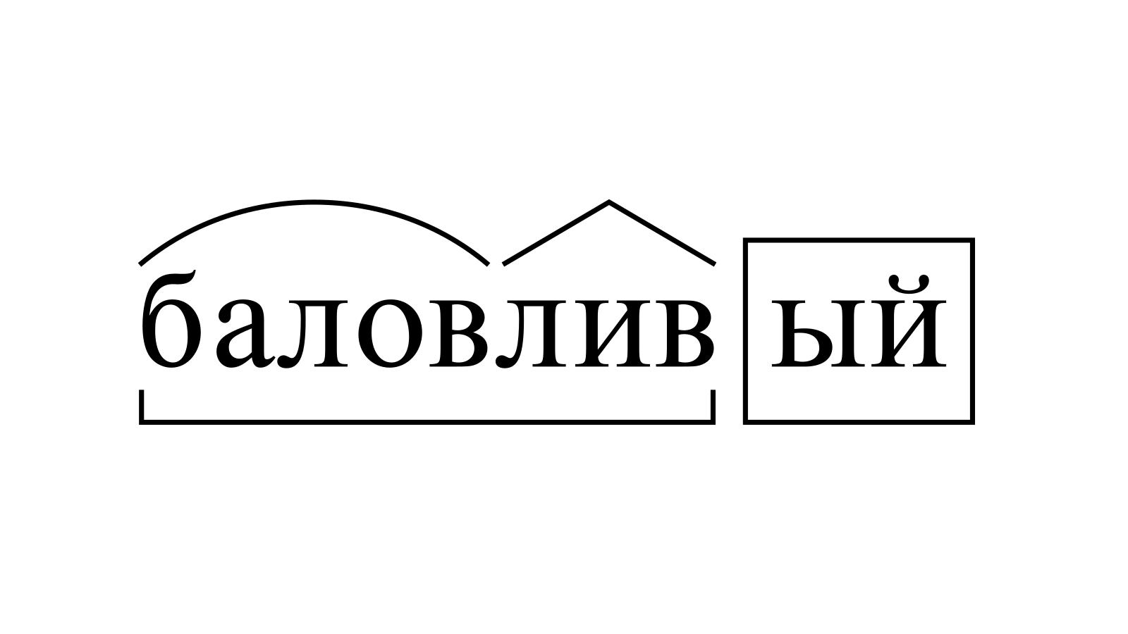 Разбор слова «баловливый» по составу
