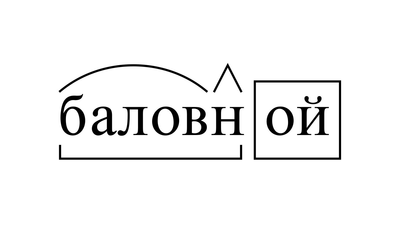 Разбор слова «баловной» по составу