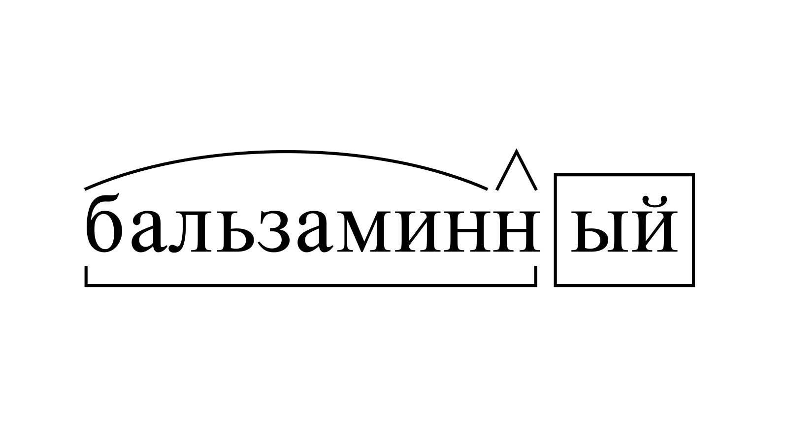 Разбор слова «бальзаминный» по составу