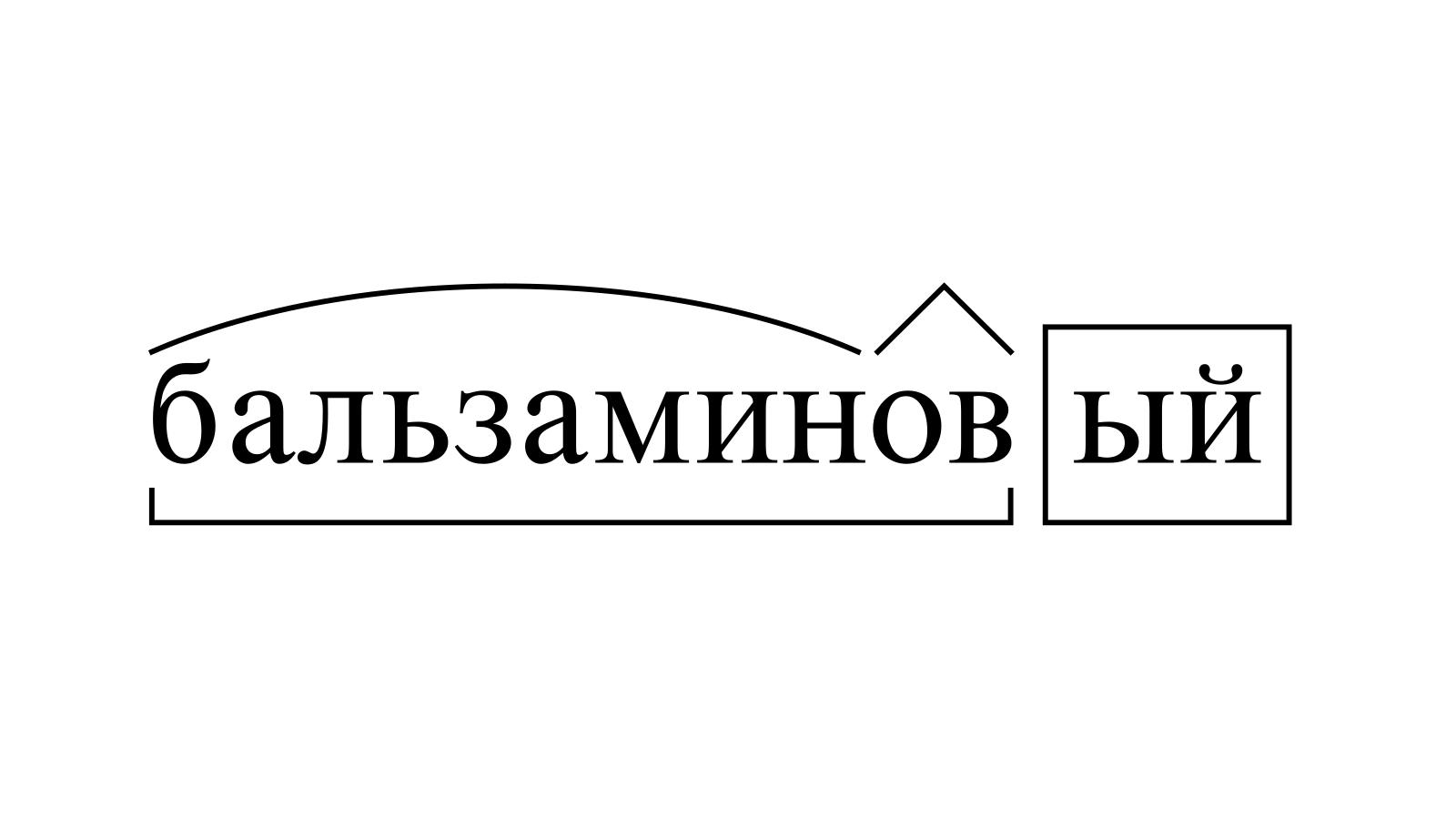 Разбор слова «бальзаминовый» по составу