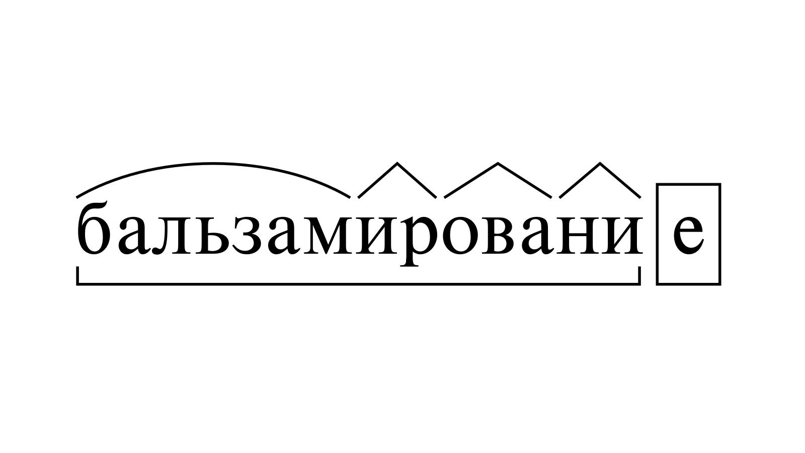 Разбор слова «бальзамирование» по составу