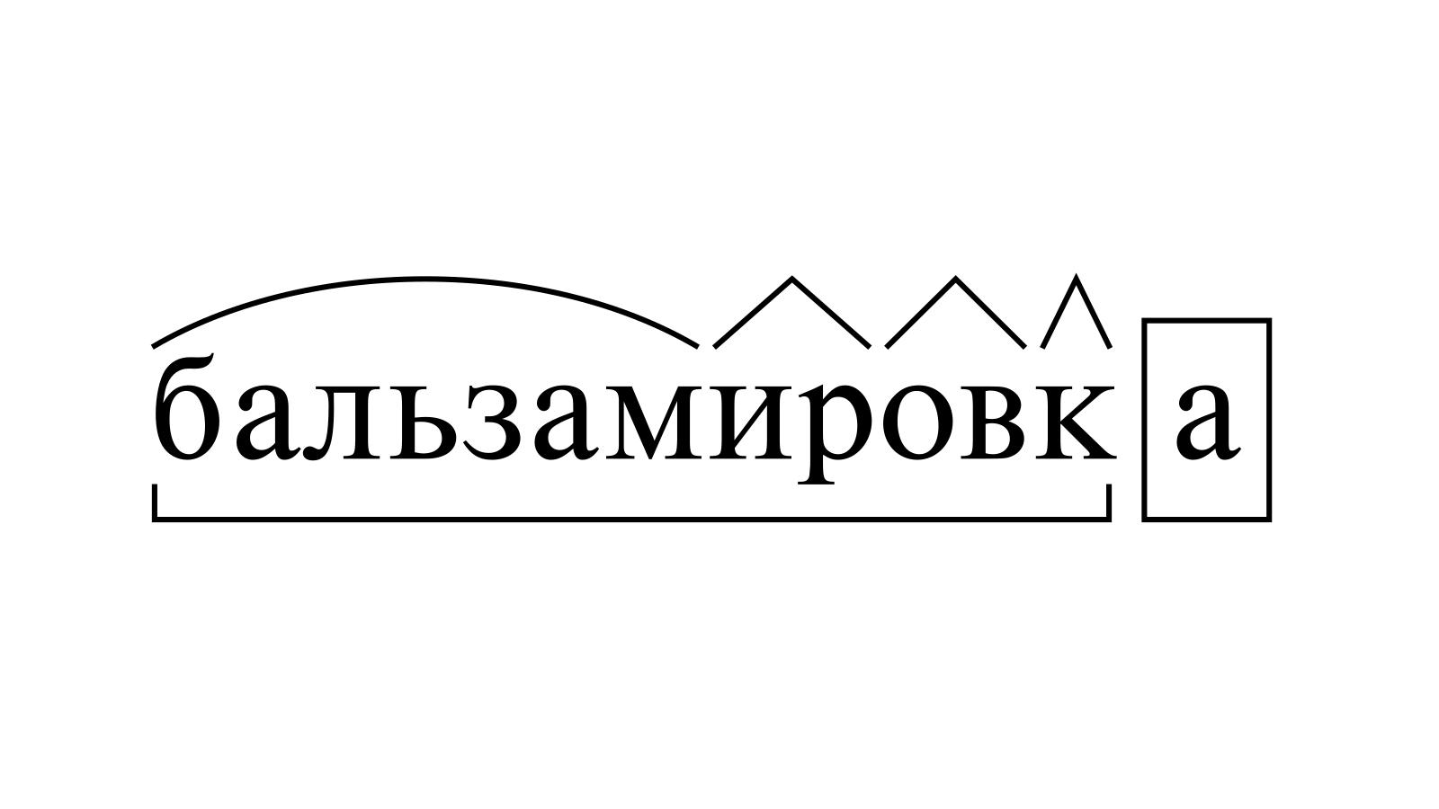 Разбор слова «бальзамировка» по составу