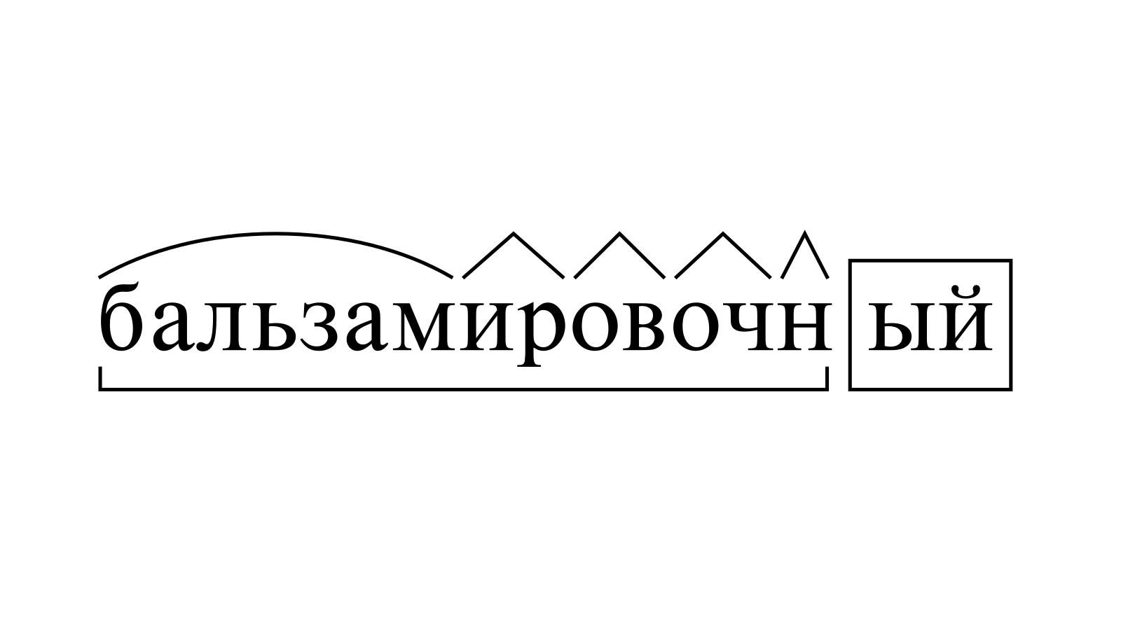 Разбор слова «бальзамировочный» по составу