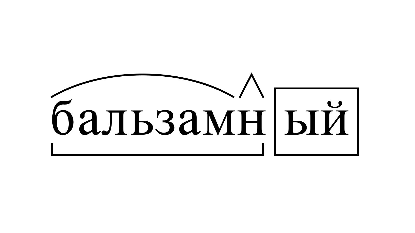 Разбор слова «бальзамный» по составу