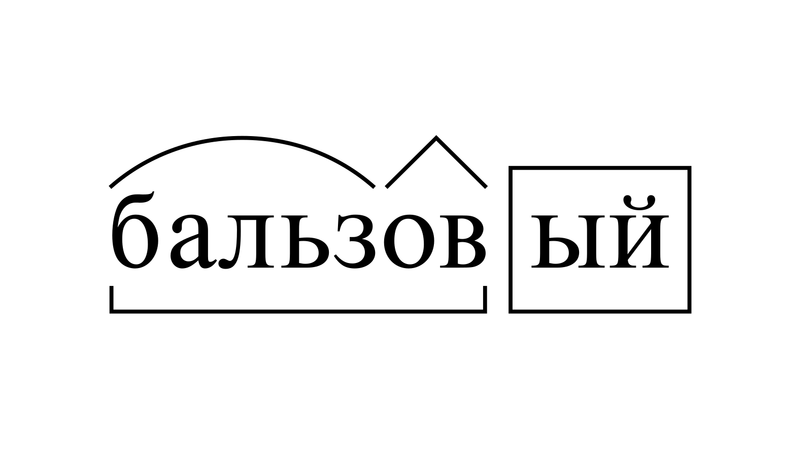Разбор слова «бальзовый» по составу