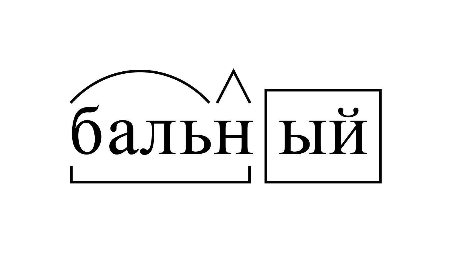 Разбор слова «бальный» по составу