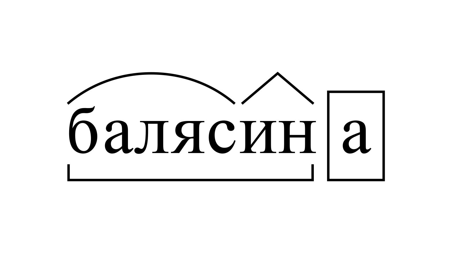 Разбор слова «балясина» по составу