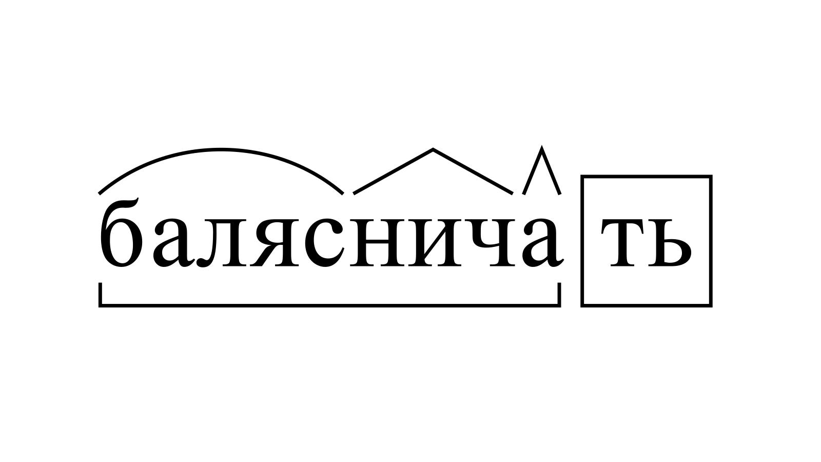 Разбор слова «балясничать» по составу