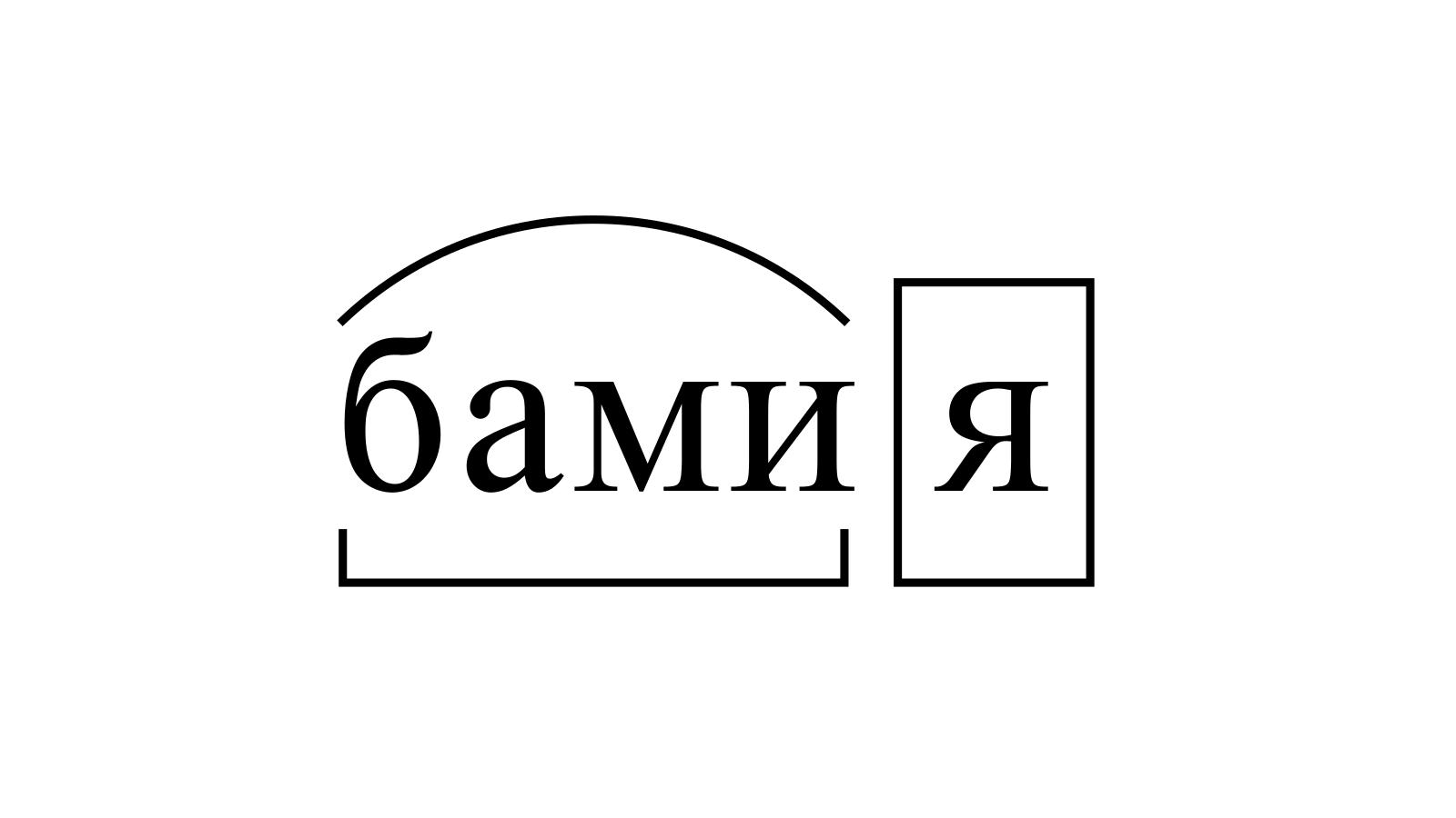 Разбор слова «бамия» по составу