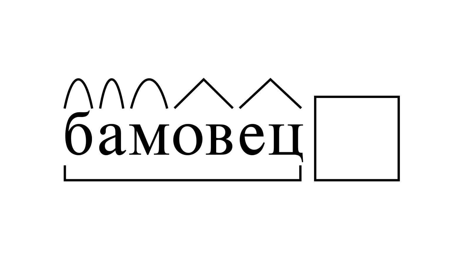 Разбор слова «бамовец» по составу