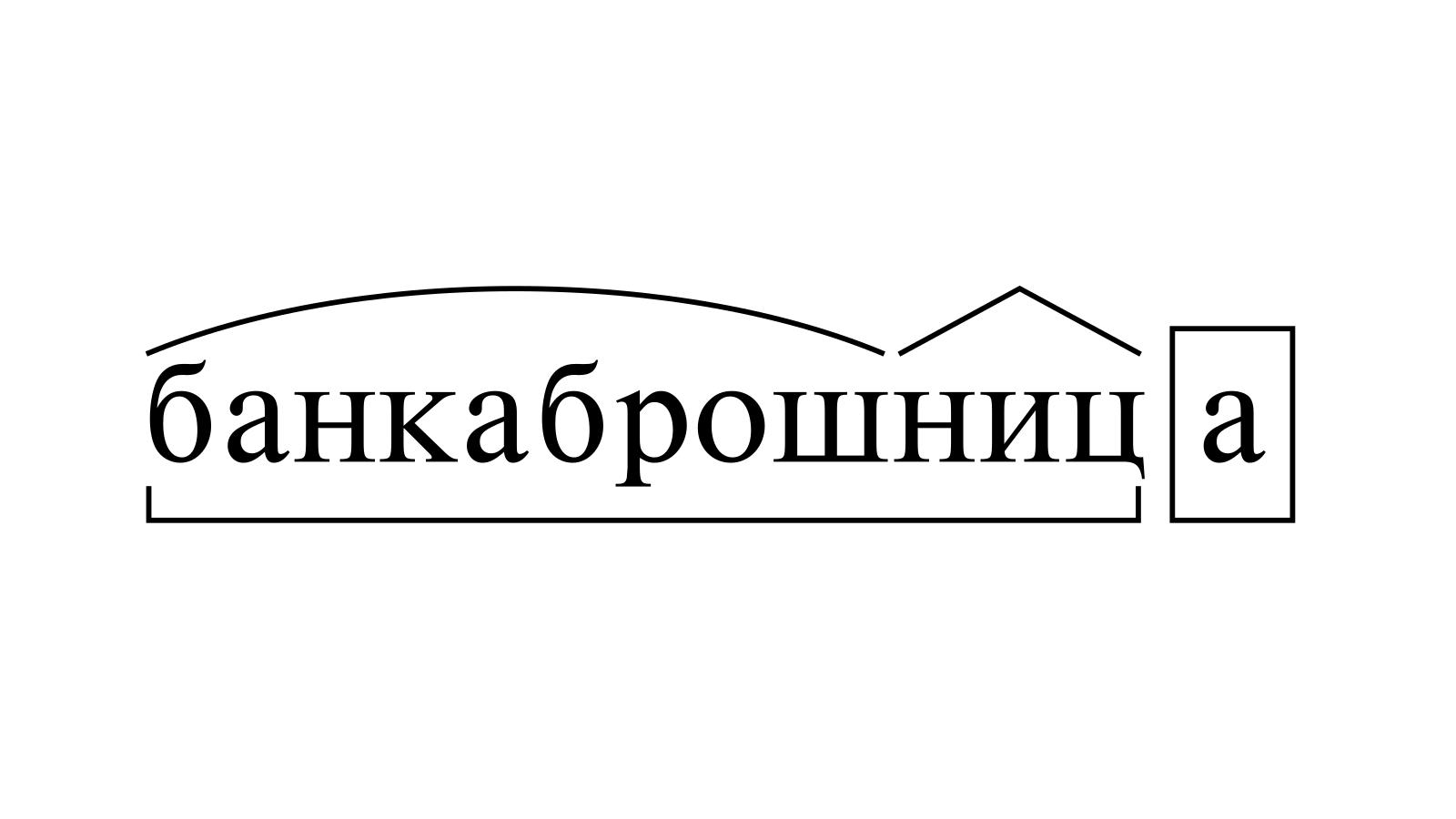 Разбор слова «банкаброшница» по составу