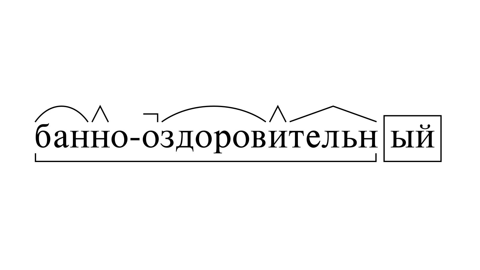 Разбор слова «банно-оздоровительный» по составу