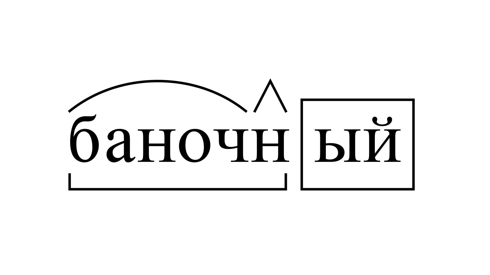 Разбор слова «баночный» по составу