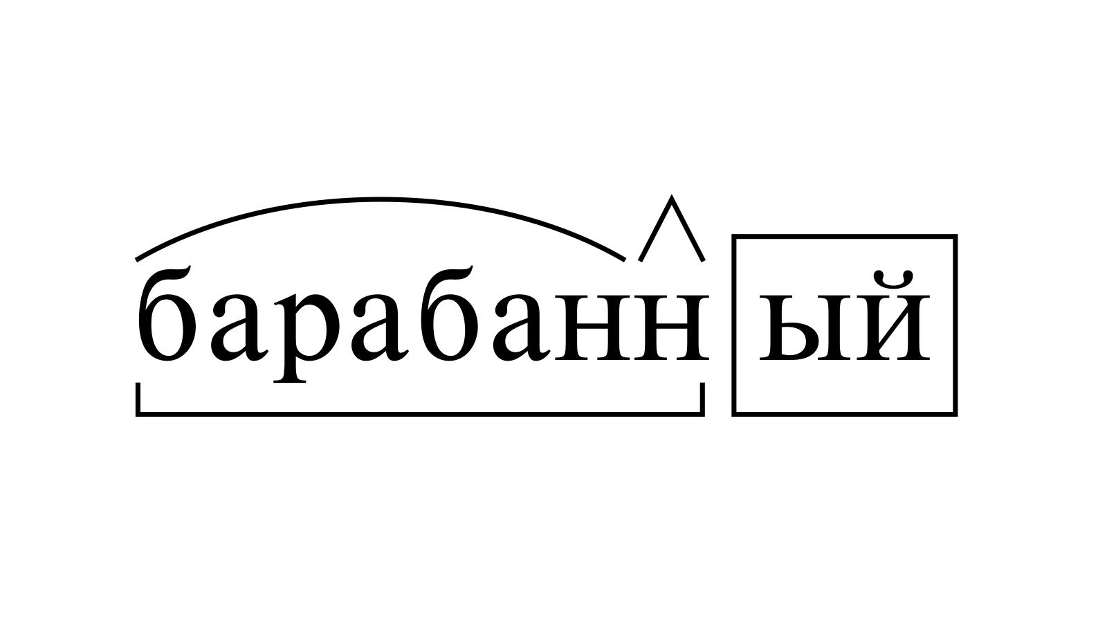 Разбор слова «барабанный» по составу