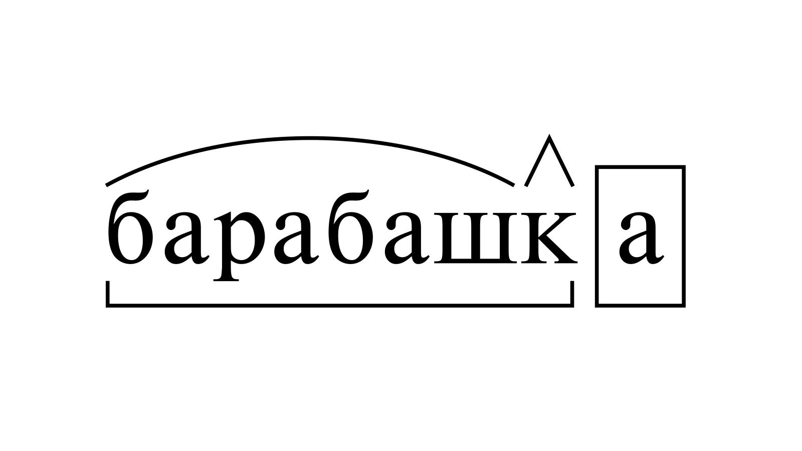 Разбор слова «барабашка» по составу