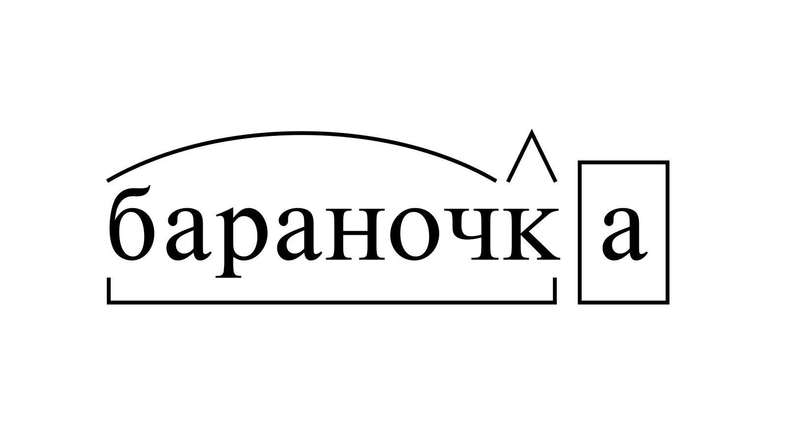 Разбор слова «бараночка» по составу