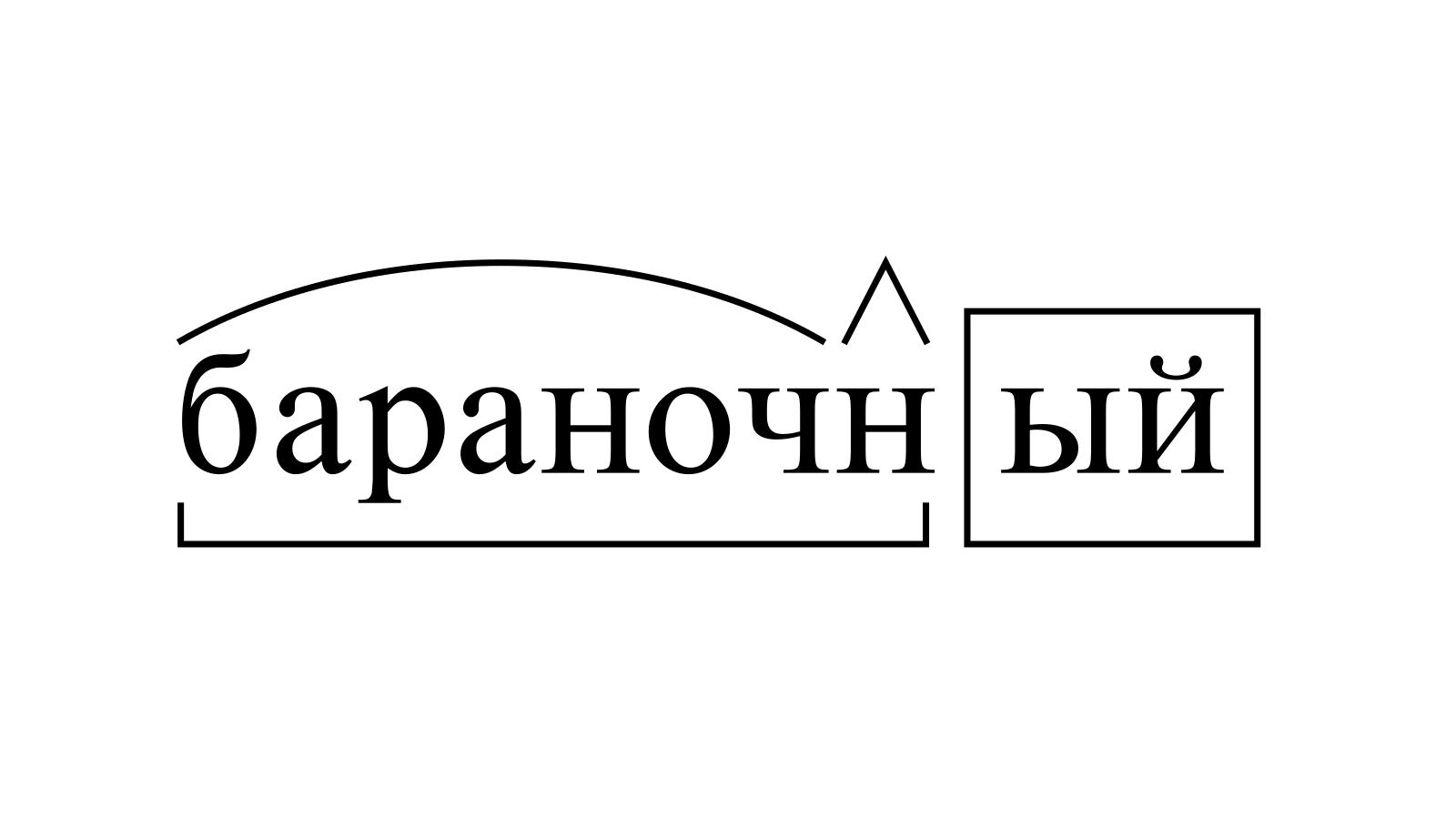 Разбор слова «бараночный» по составу