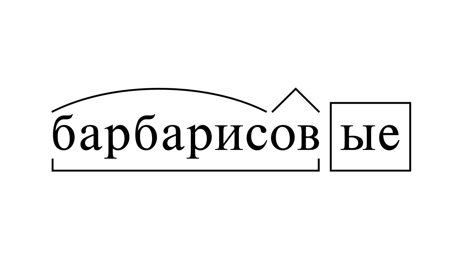 Разбор слова «барбарисовые» по составу