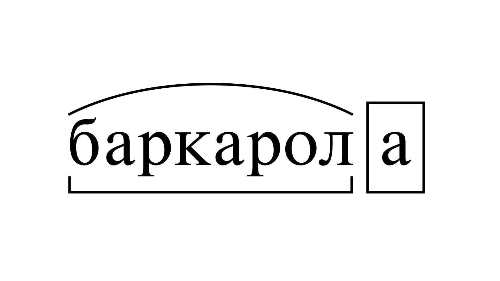 Разбор слова «баркарола» по составу