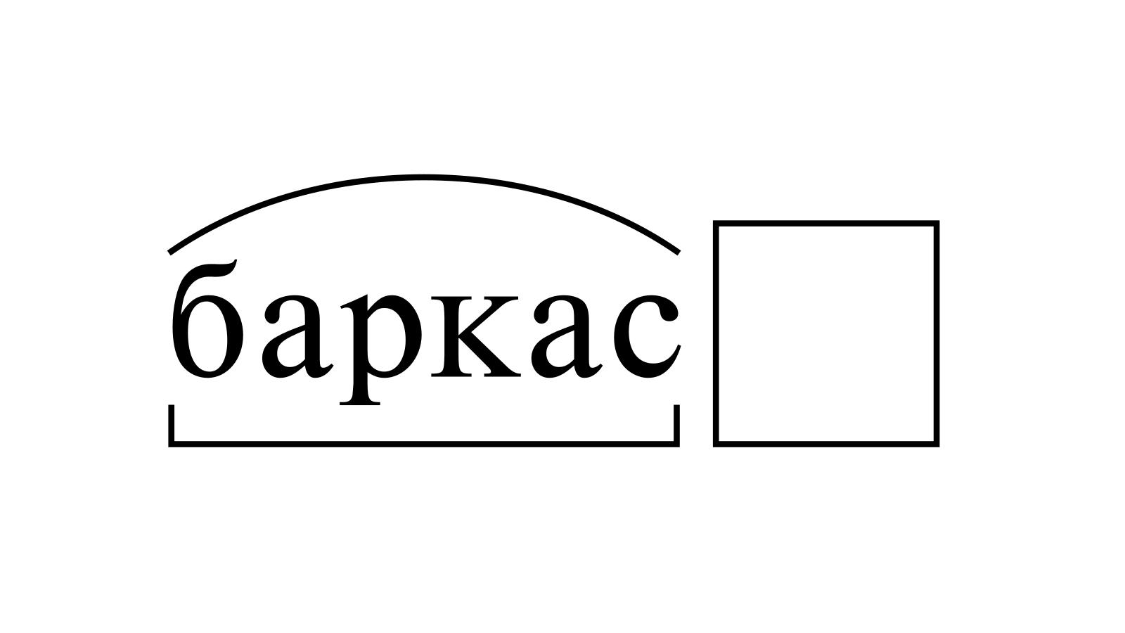 Разбор слова «баркас» по составу